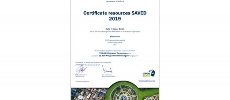 Zertifikat Resources saved, Umweltschutz, Nachhaltigkeit